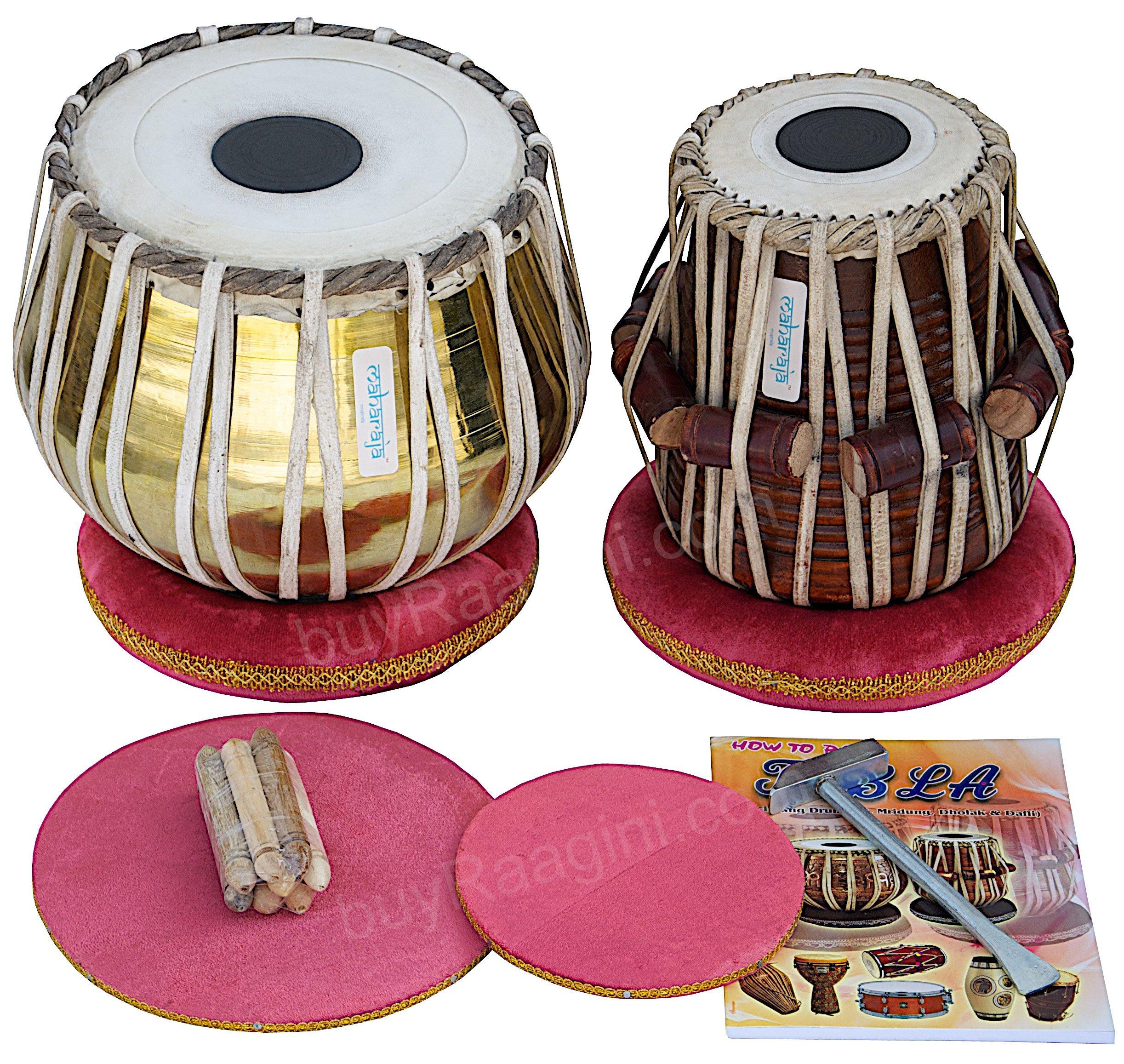 Tabla Set by Maharaja Musicals, Golden Brass Bayan 3Kg, Sheesham Dayan Tabla, Nylon Bag, Hammer, Book, Cushions, Cover, Tabla Indian Drums (PDI-CH) by Maharaja Musicals