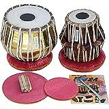 Tabla Set by Maharaja Musicals, Golden Brass Bayan 3Kg, Sheesham Dayan Tabla, Nylon Bag, Hammer, Book, Cushions, Cover, Tabla