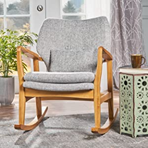 Christopher Knight Home 302099 Balen Mid Century Modern Fabric Rocking Chair (Light Grey Tweed)