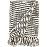 "Amazon Brand – Stone & Beam Modern Woven Farmhouse Throw Blanket, Soft and Cozy, 50"" x 60"", Brown and White"
