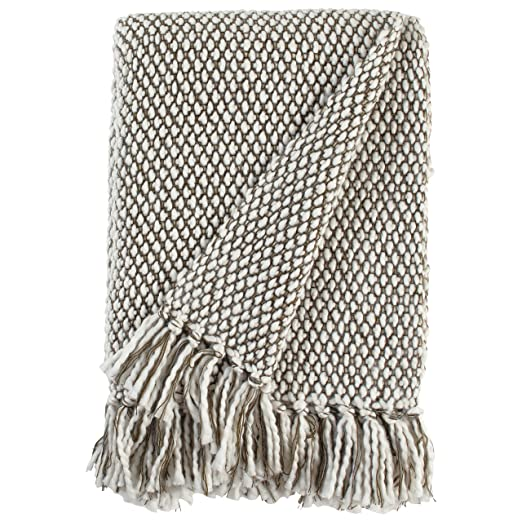 "Stone & Beam Modern Woven Farmhouse Throw Blanket, Soft and Cozy, 50"" x 60"", Brown and White"