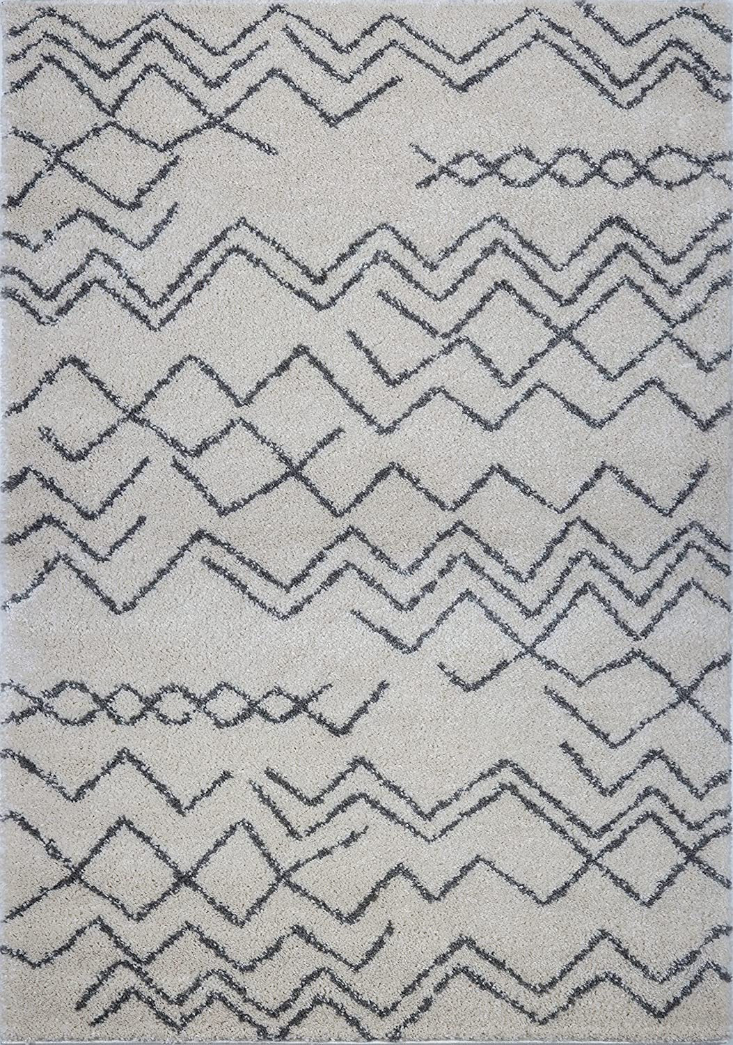 Ladole Rugs MOR12514 Sustainable Contemporary Trellis Area Rug 240cm x 320cm Grey//Ivory 710 x 105