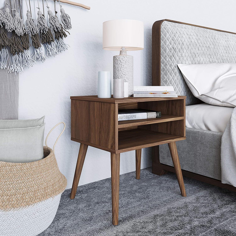 Boyd Sleep Mid-Century Modern Bedroom Furniture: Ragusa Wood Nightstand with Dual Open Shelves, Walnut