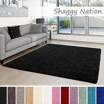 Shaggy-Teppich | Flauschiger Hochflor für Wohnzimmer, Schlafzimmer,  Kinderzimmer oder Flur Läufer | einfarbig, schadstoffgeprüft, ...