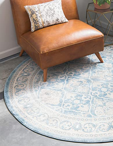 Unique Loom Salzburg Collection Traditional Oriental Light Blue Round Rug 5 0 x 5 0