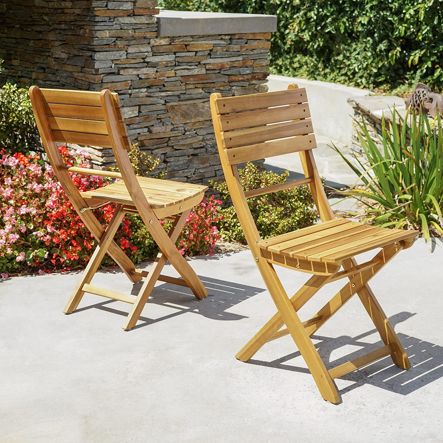 Vicaro Acacia Wood Foldable Outdoor Dining Chairs Set of 2 Perfect for Patio with Natural Finish