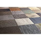 "Nance Industries Peel and Stick Commercial Carpet Tile, 20""x20"", Assorted Colors, 12 Tiles"