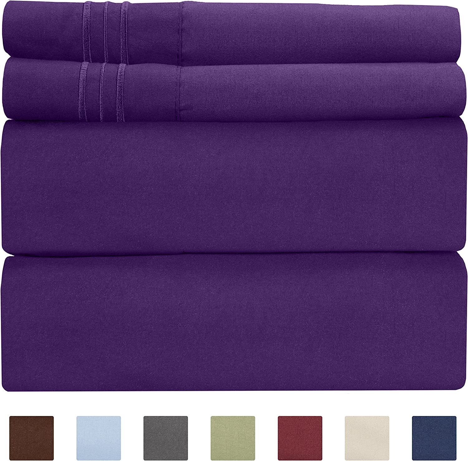 Full Size Sheet Set - 4 Piece Set - Hotel Luxury Bed Sheets - Extra Soft - Deep Pockets - Easy Fit - Breathable & Cooling - Wrinkle Free - Comfy – Purple Plum Bed Sheets - Fulls Sheets – 4 PC