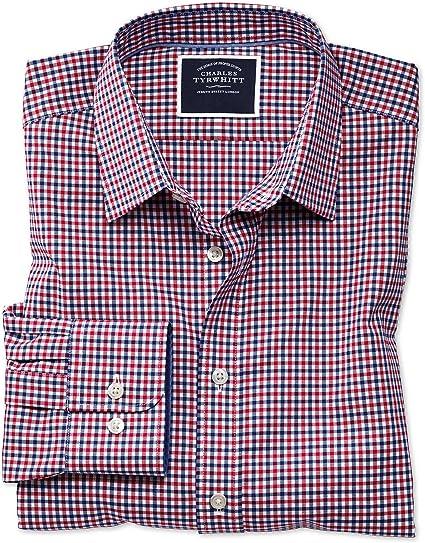 Charles Tyrwhitt Camisa Oxford Rojo y Azul Marino de Corte ...