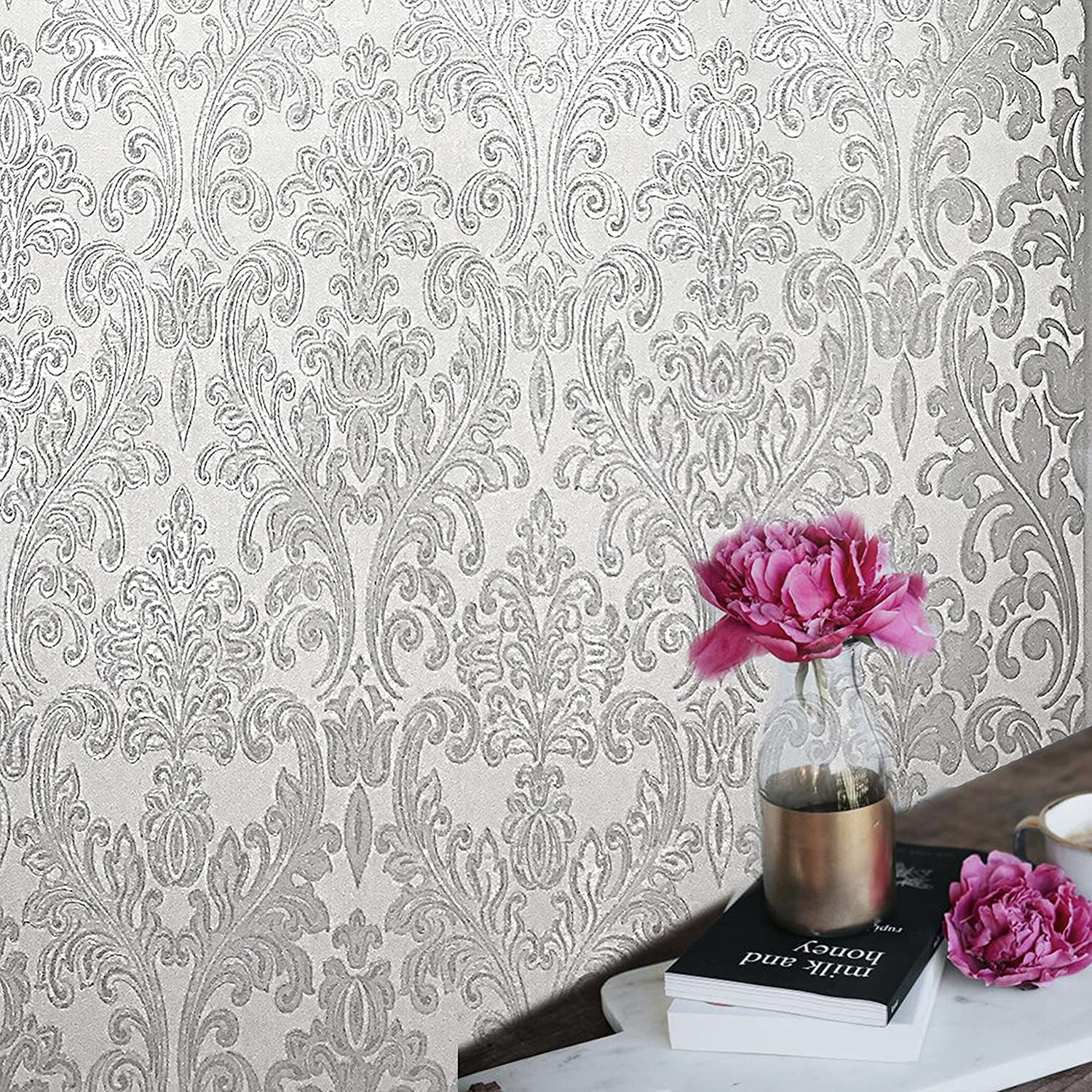 paste wall only Premium Embossed European Slavyanski modern roll wallcoverings washable victorian damask pattern Vinyl Non-Woven Wallpaper white gray grey silver glitters metallic textured textures 3D