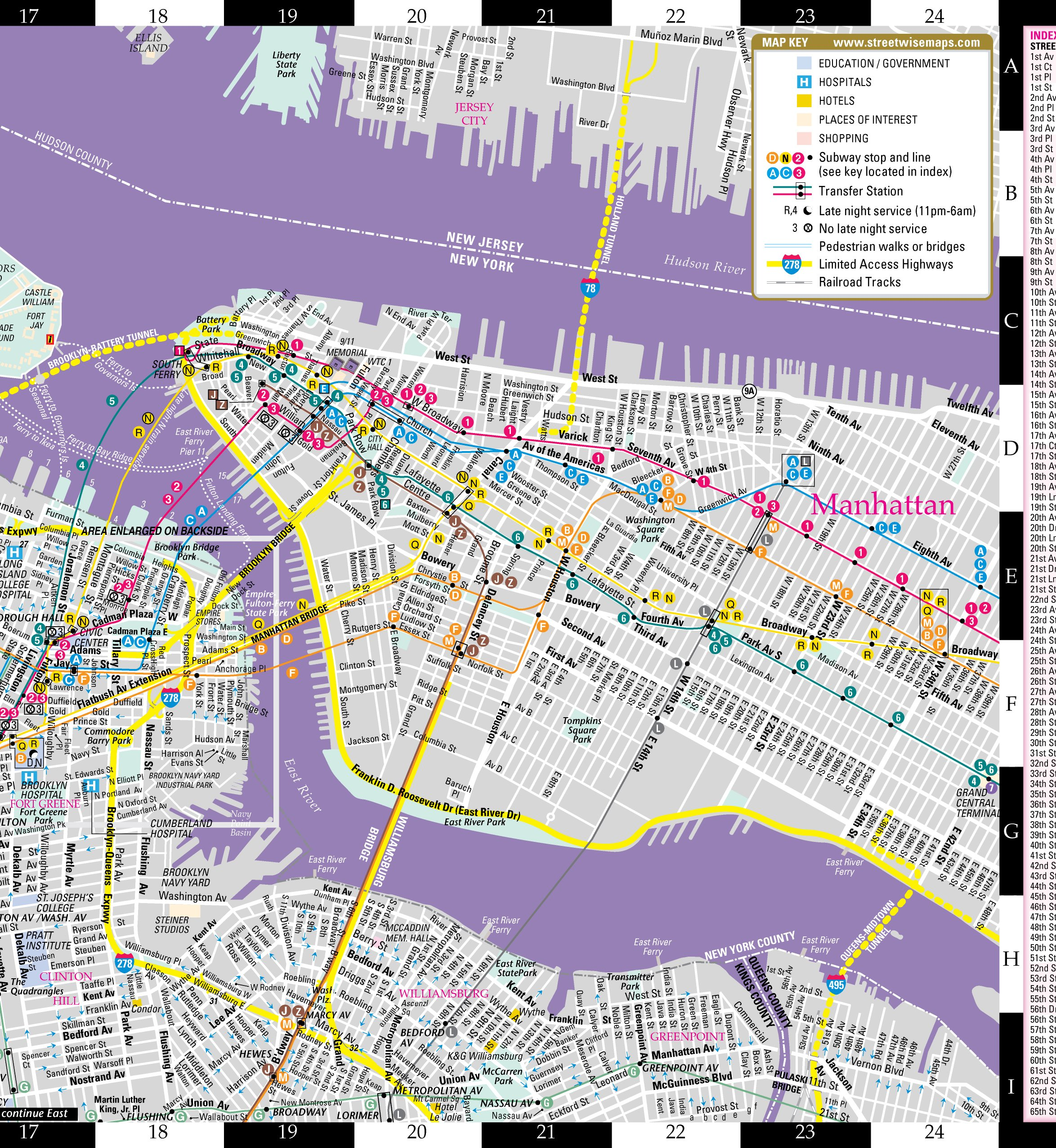 Streetwise Brooklyn Map Laminated City Center Street Map Of
