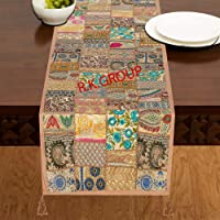 Flyingasedgle Rajasthani Handmade Table Runner Indian Design Embroided Cotton Ethnic Runner Indian Patchwork Table and…
