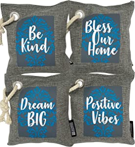 Bamboo Charcoal Air Purifying Bag 4-Pack - Natural Fresh Air by Powerful Activated Charcoal Bags Odor Absorber - Kid and Pet Friendly Air Fresheners for Home or Car