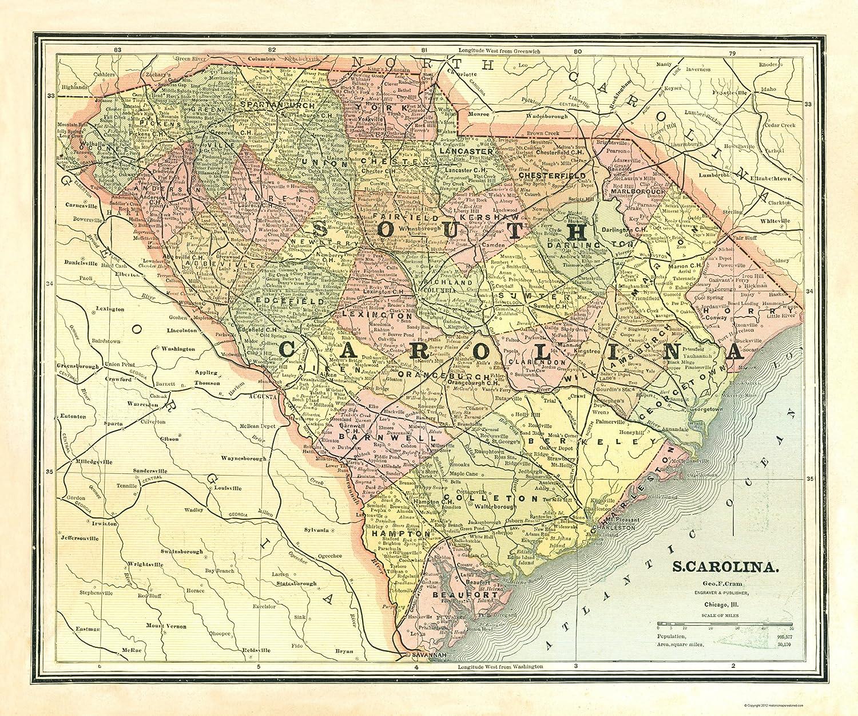 Columbus South Carolina Map.Amazon Com Old State Map South Carolina Cram 1886 23 X 27 59