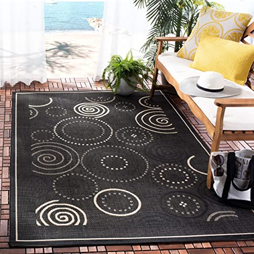 Safavieh Courtyard Collection CY1906-3908 Black and Sand Indoor Outdoor Area Rug 9 x 12