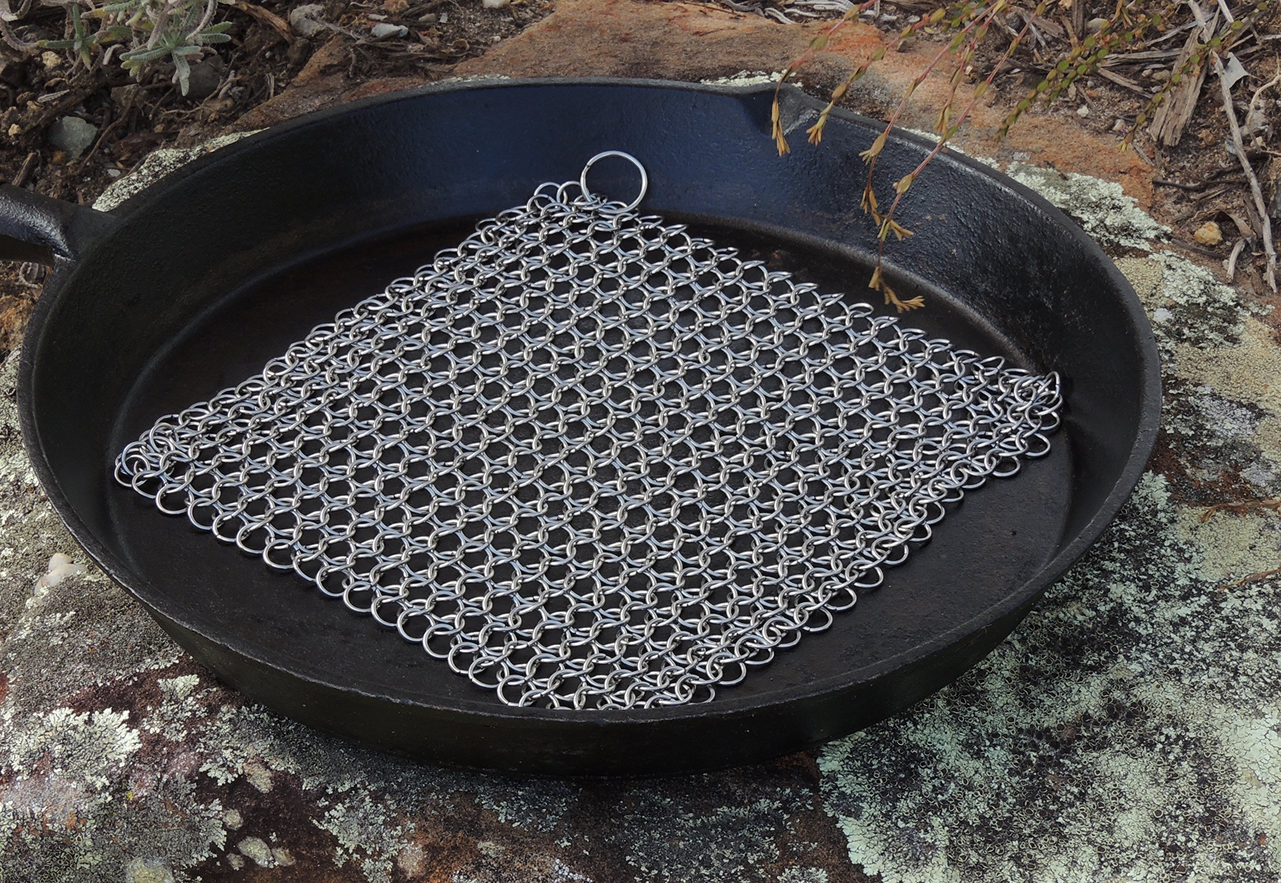 Cast Iron Cleaner and Scrubber by Küche Chef. XL 8x8 Inch Premium 316 Stainless Steel Chainmail Scrubber by Kuche Chef (Image #8)
