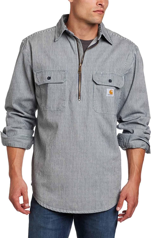 Carhartt Hickory Camisa de Mezclilla con Cremallera para