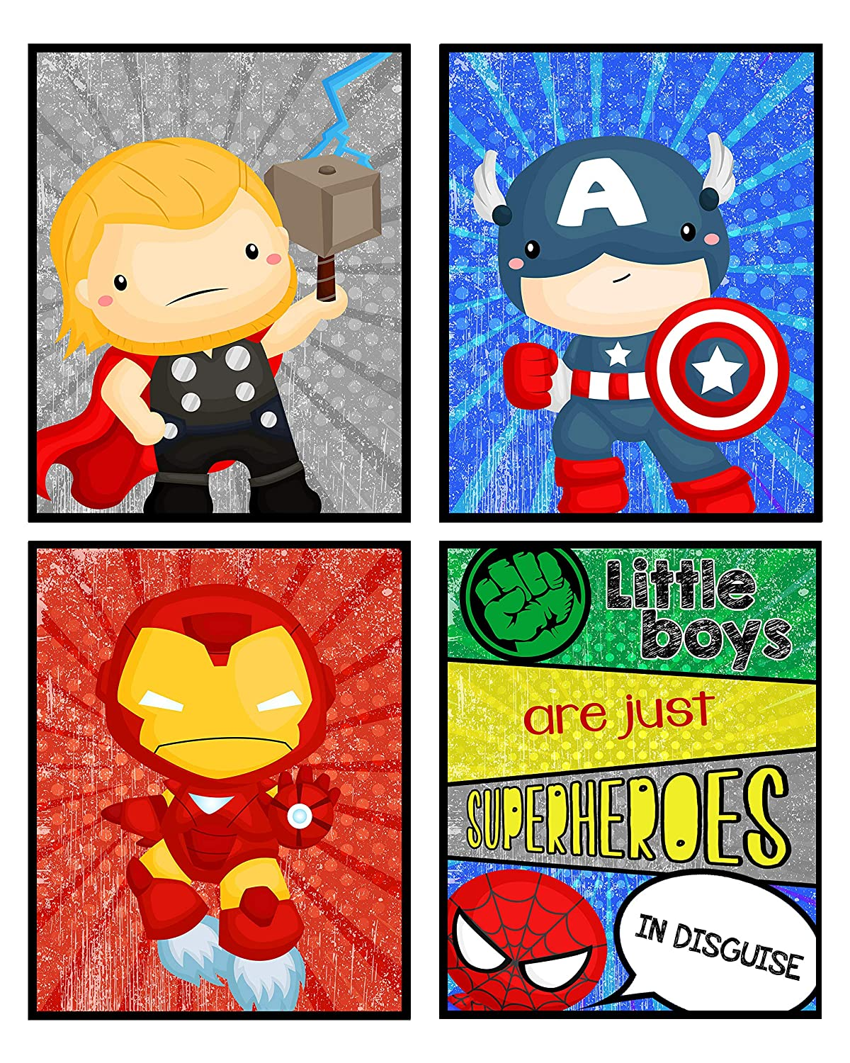Silly Goose Gifts Little Boys are Just Superheros in Disguise Room Wall Art Prints Decor (Set of Four)