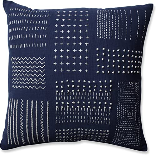 Pillow Perfect Tribal Sampler Throw Pillow, 16.5 , Navy White