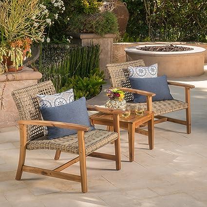 Image Unavailable - Amazon.com : Savannah Outdoor Mid Century Grey Wicker Club Chairs