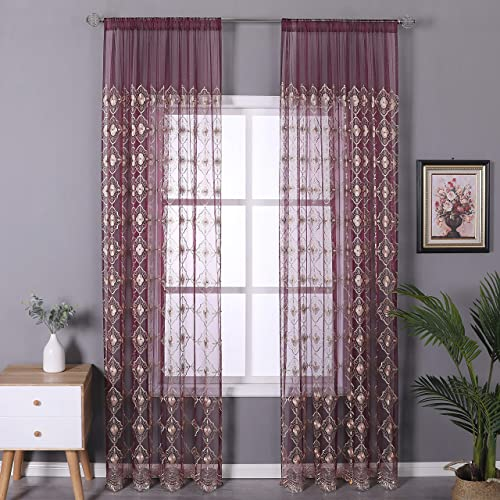 Aside Bside Vintage Sheer Curtain Embroidered Beaded Lace Voile Draperies Rod Pocket Panel for Living Room Bedroom Dining Room 1 Panel, Wine Red Bottom with Light Brown Embroidered, W 50 x L 95 inch
