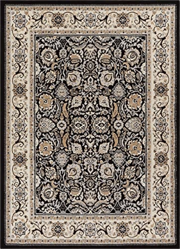 Well Woven Darya Black Modern Sarouk 5×7 5 3 x 7 3 Area Rug Updated Traditional Persian Carpet
