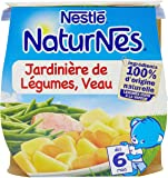 Nestlé Bébé Naturnes Jardinière de Légumes Veau - Plat Complet dès 6 Mois - 2 x 200g - Lot de 4