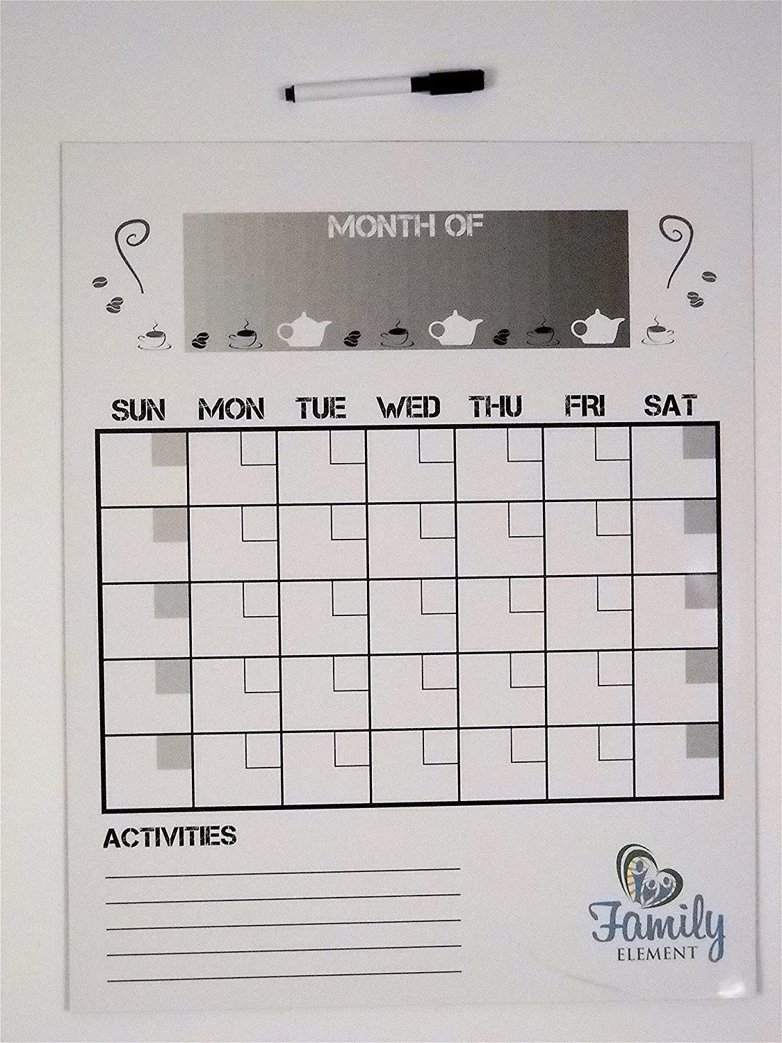 """Family Element's Large Monthly Dry Erase Refrigerator Magnet Calendar – Size 19.5x15.5"""" (Includes one fine point Black Dry Erase Marker)"""