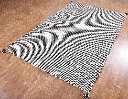 Rug Home 5 x8 Houndstooth Handmade Flat Weave Dhurry 100 Woolen Rugs Carpets