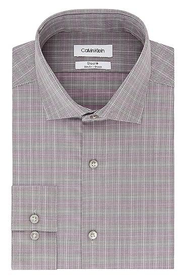 Calvin Klein Mens Dress Shirt Non Iron Stretch Slim Fit Check ...