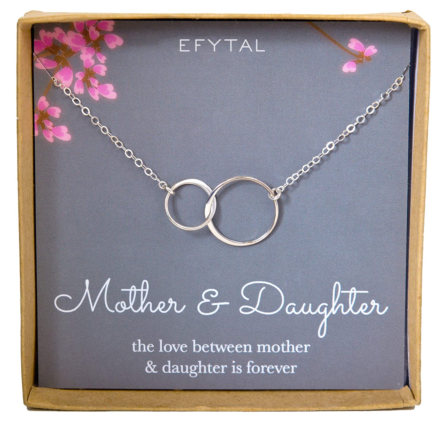 Efytal Mother Daughter Necklace Sterling Silver Two 1 Set Perhiasan India Interlocking Infinity Double Circles Mothers Day Jewelry Birthday Gift