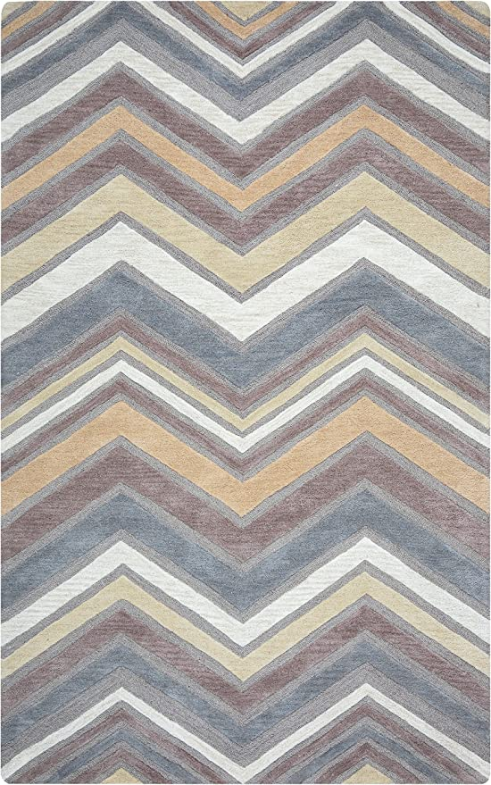 Rizzy Home Arden Loft-Lisbon Corner Collection Wool Gray//Natural  Geometric  Area Rug 26 x 8