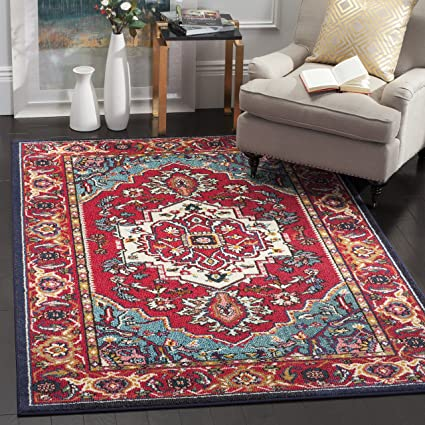 Safavieh Monaco Collection MNC207C Modern Oriental Medallion Red And  Turquoise Distressed Square Area Rug (6