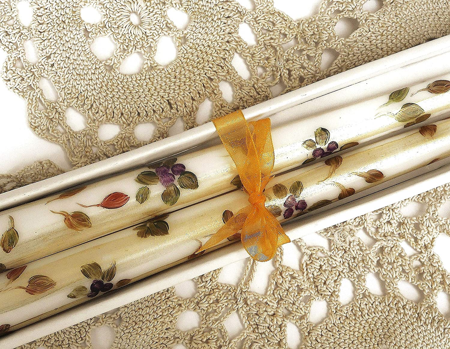 Amazon.com: Decorative Fall Home Decor Hand Painted White Dripless Taper  Candles Autumn Leaves Decorations: Handmade