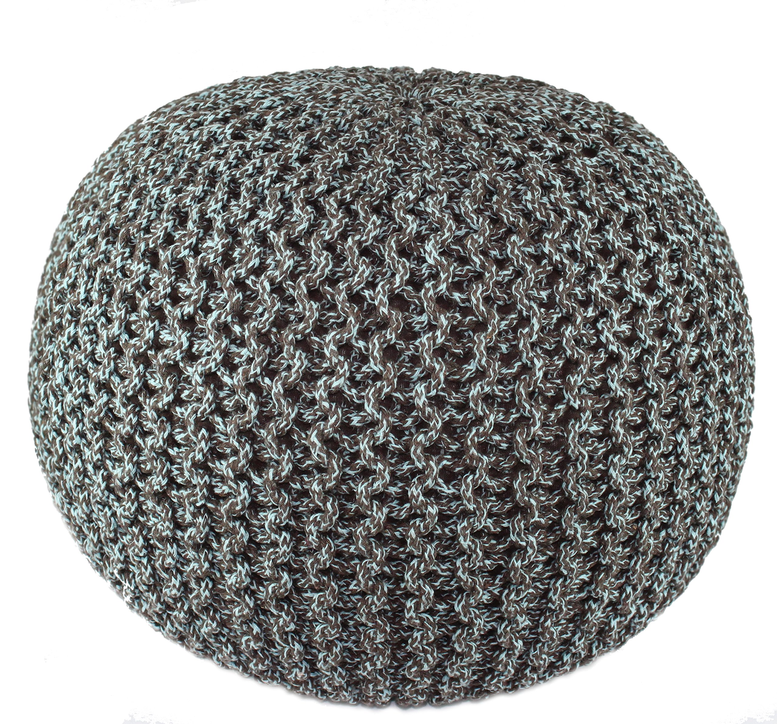 Cotton Craft - Hand Knitted Cable Style Tweed Dori Pouf - Spa/Chocolate - Floor Ottoman - 100% Cotton Braid Cord - Handmade & Hand stitched - Truly one of a kind seating - 20 Dia x 14 High