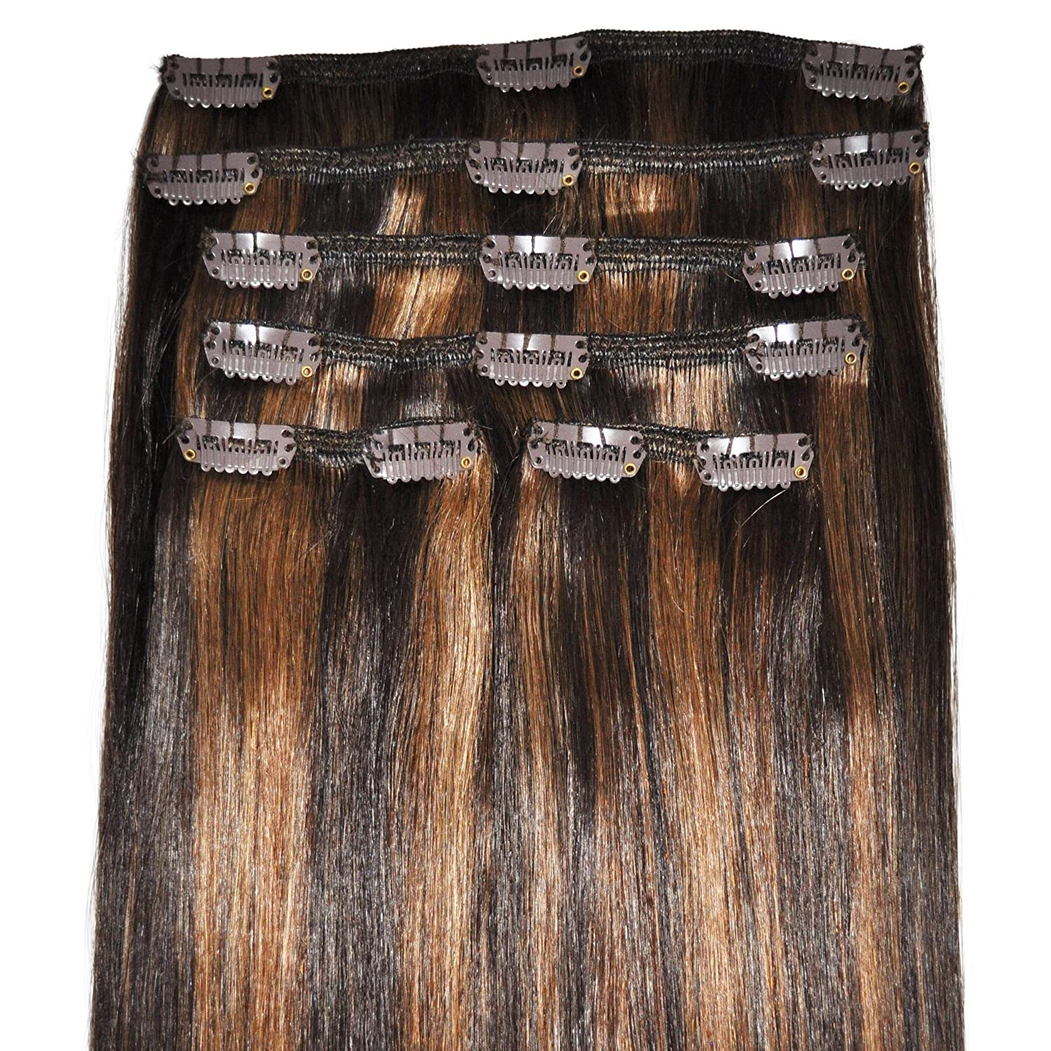 12 inch, FULL HEAD, 6pcs, Silky Soft Clip-in Hair Extensions - 100% Remy, Triple Weft, Human Hair, (100g, 2/6 Dark Brown, Brunette Balayage)