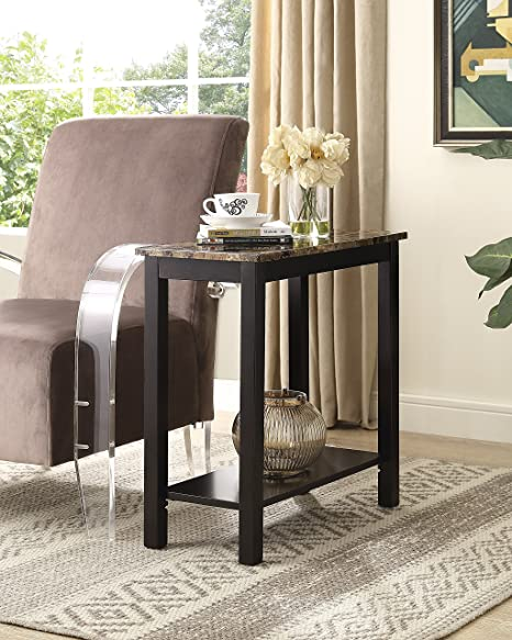 Roundhill Furniture Lediyana Faux Marble Top Side Table In Espresso Finish