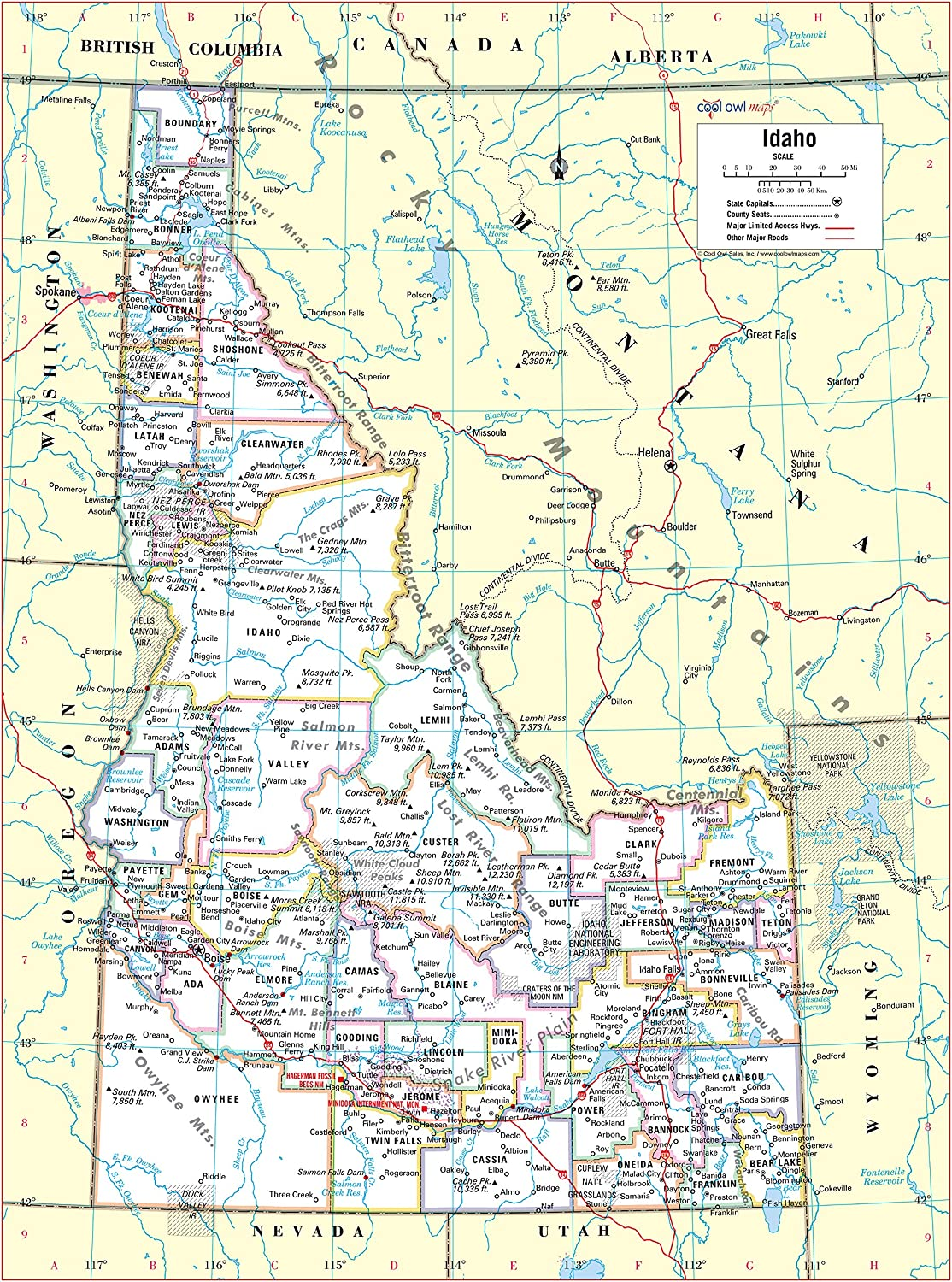 """Cool Owl Maps Idaho State Wall Map Poster Laminated 24/""""x32/"""""""