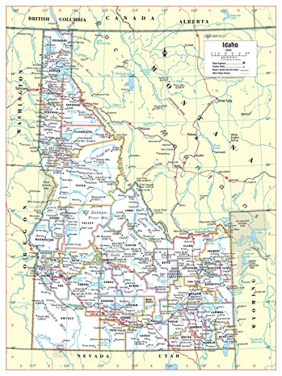 Amazon.com : Cool Owl Maps Idaho State Wall Map Poster ...