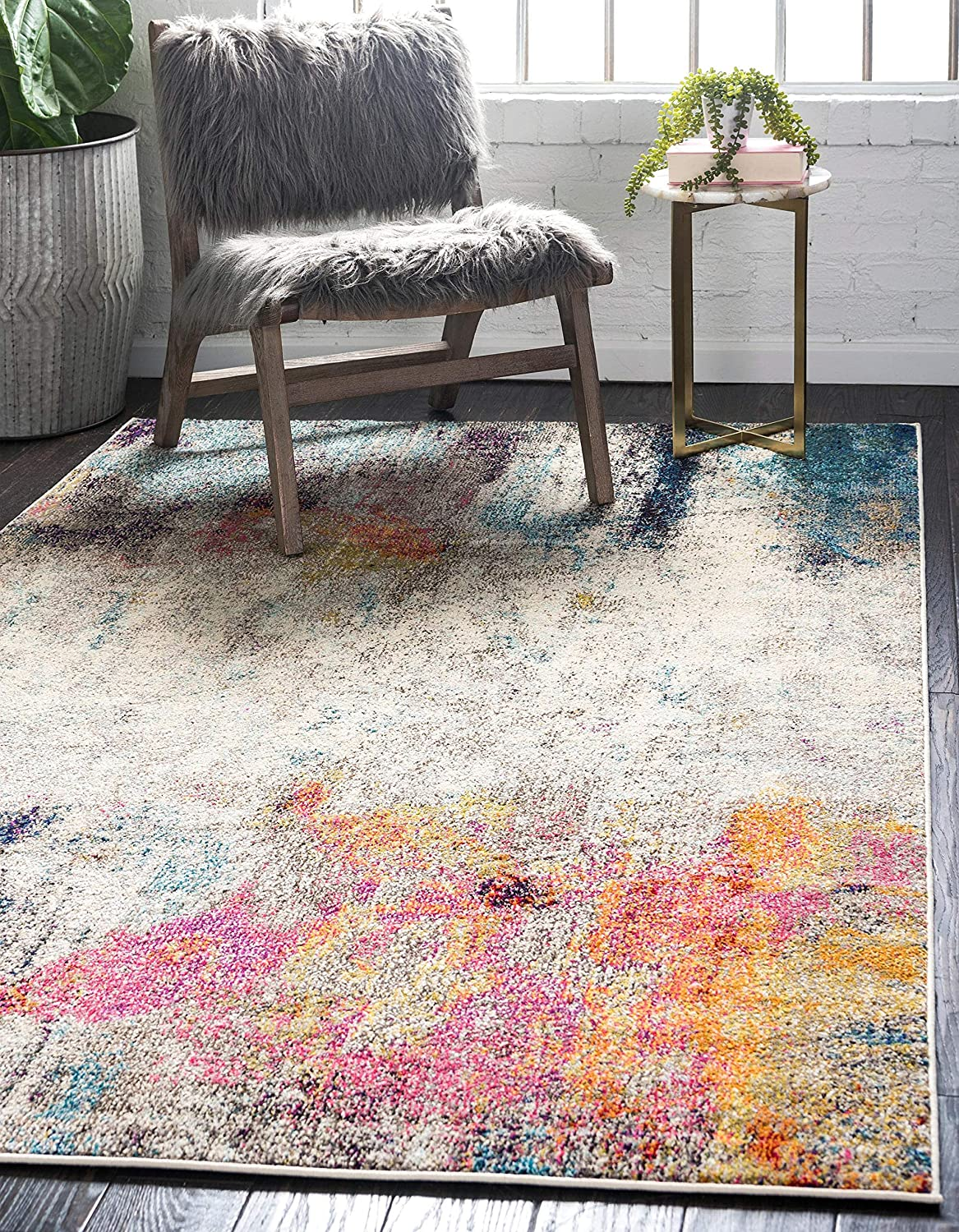 Unique Loom Chromatic Collection Modern Abstract Colorful Beige Area Rug (6' 0 x 9' 0)