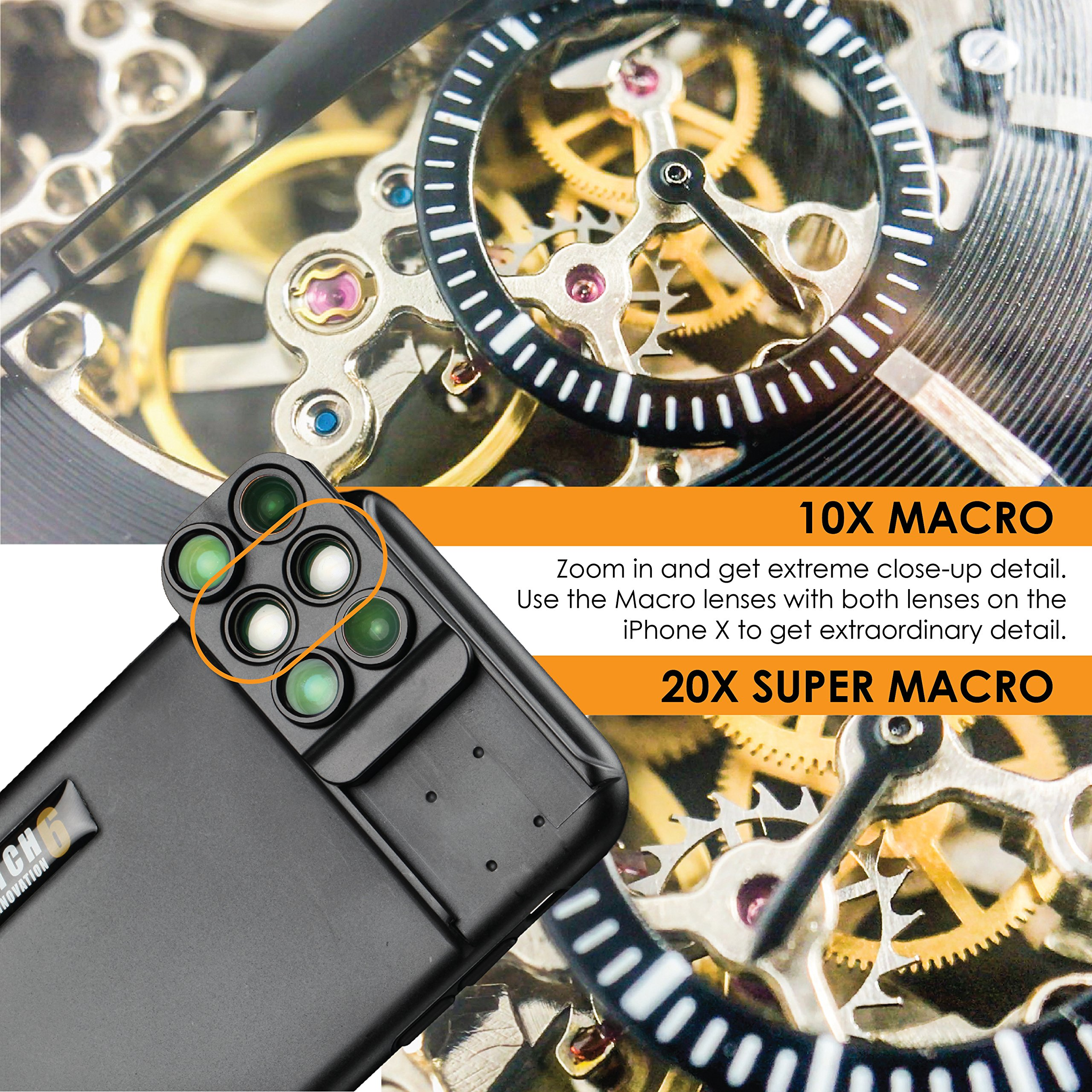 Ztylus Switch 6 for Apple iPhone X: 6 in 1 Dual Optics Lens System (Fisheye, Telephoto, Wide-angle, Macro and Super Macro), Double Layer Protection (Black) by Ztylus (Image #5)