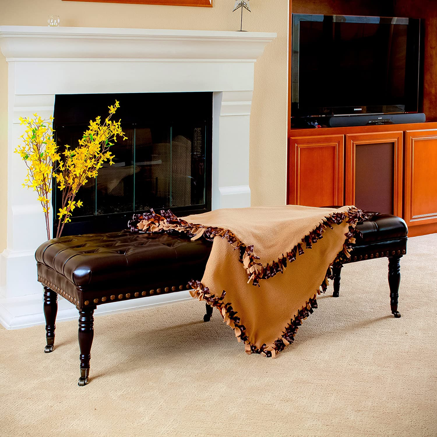 Amazon Best Selling Hastings Brown Tufted Leather Ottoman