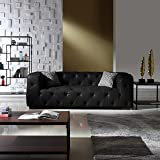 Large Tufted Real Leather Chesterfield Sofa, Classic Living Room Couch (Black)