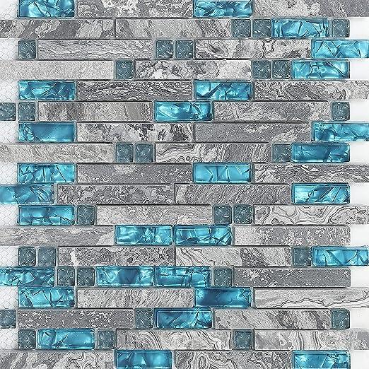 Hominter 11-Sheets Gray Marble Backsplash Wall Tiles, Teal Blue Gl on teal glass tile kitchen backsplash, teal kitchen paint color ideas, teal painted backsplash,