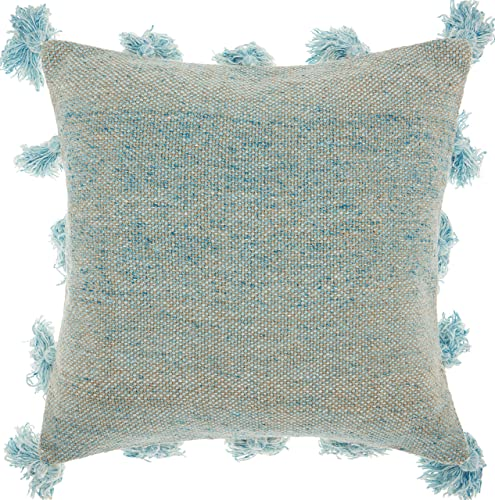 Nourison Mina Victory DP005 Life Styles Tassel Border Throw Pillow, 18 x 18 , Blue