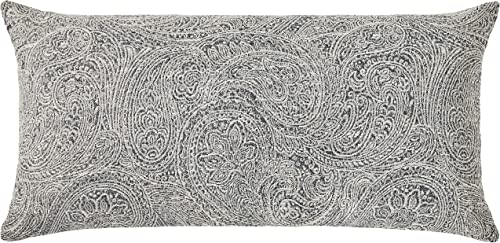 Amazon Brand Ravenna Home Classic Paisley Throw Pillow – 24 x 12 Inch, Grey