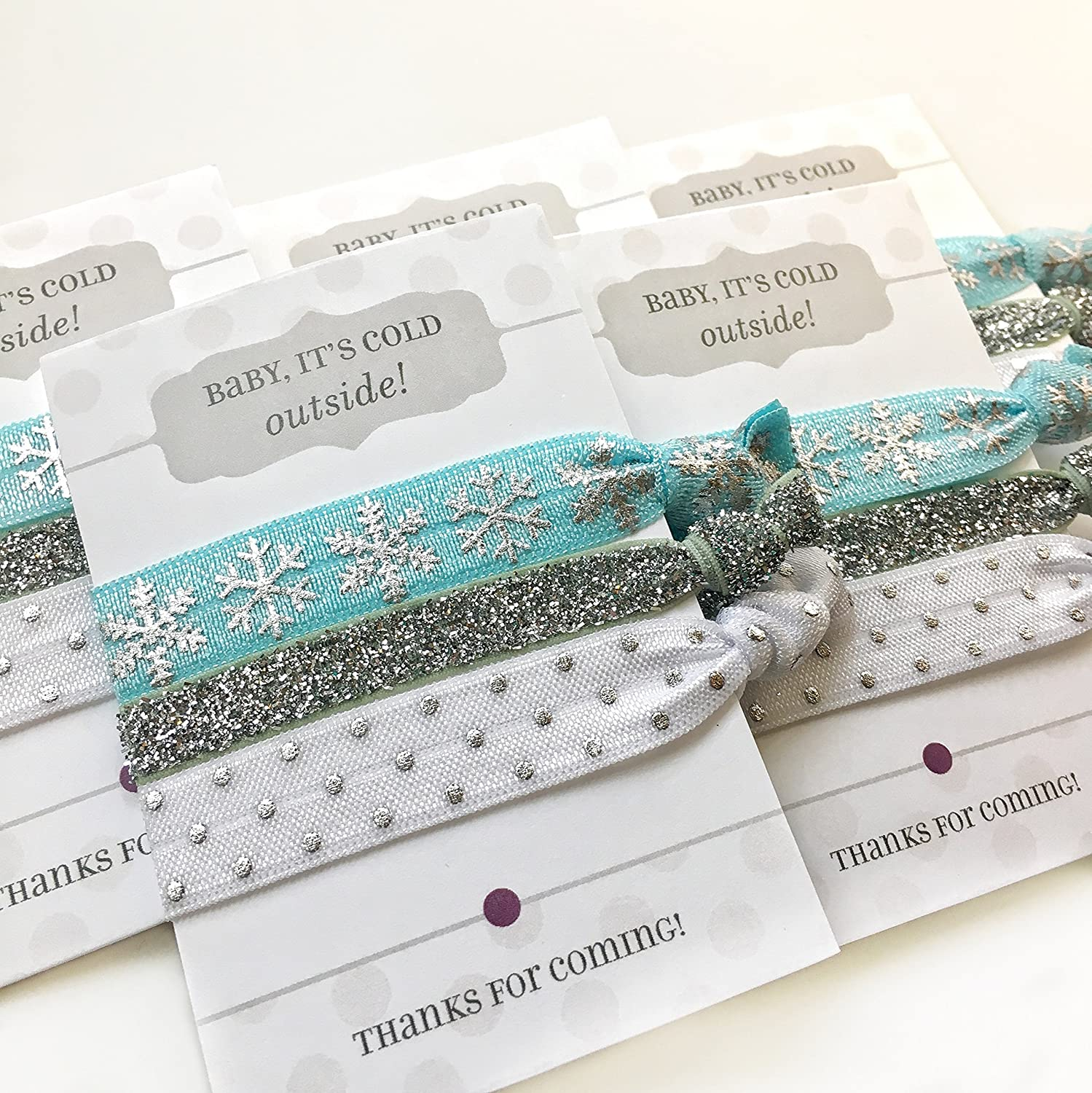 Winter Snowflake Party Favours - Hair Ties (5 Pack)
