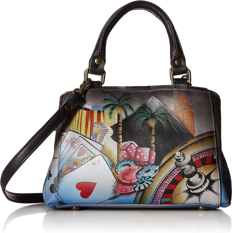 Anna by Anuschka Satchel Handbag | Genuine Leather | Sin City