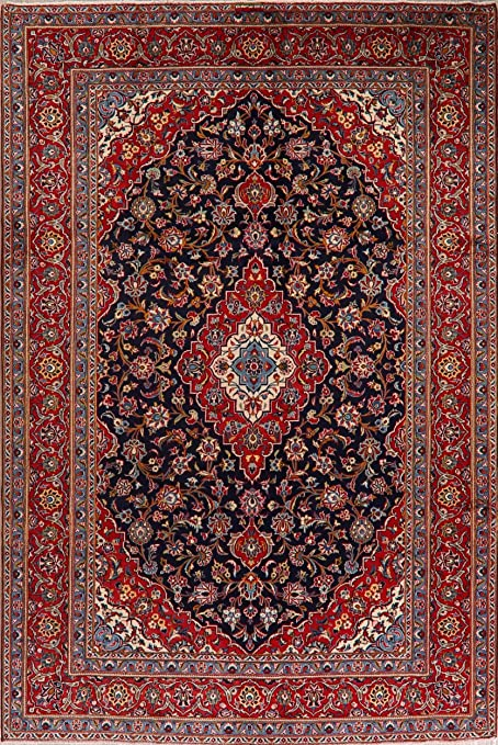 Amazon Com Vintage Navy Blue Red Floral Ardakan Wool Area Rug Oriental Hand Knotted Living Room Carpet 7x11 7 2 X 10 8 Kitchen Dining