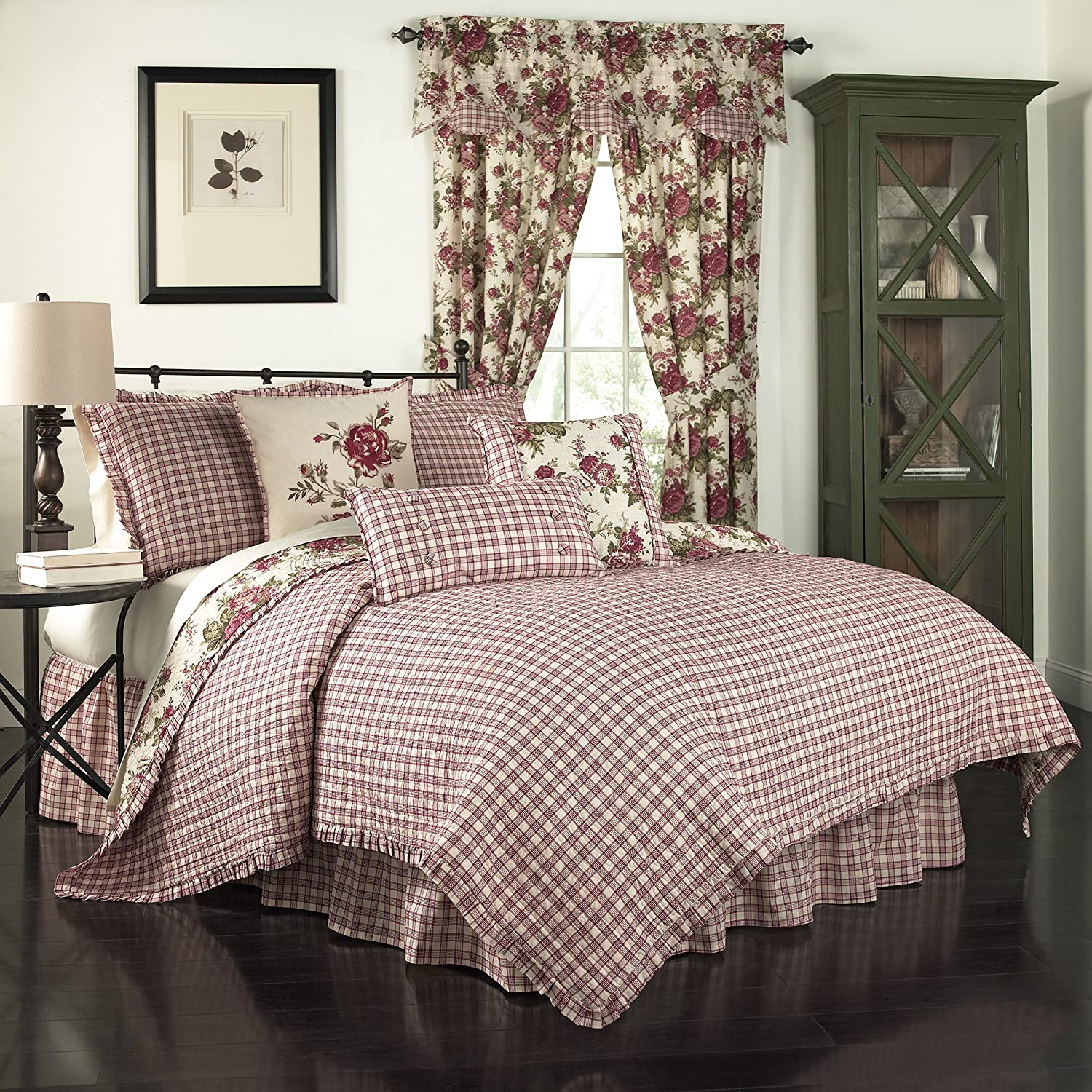 Tea Stain Ellery Homestyles Waverly 14770BEDDKNGTSN Norfolk 104-Inch by 90-Inch Reversible 4 Piece King Quilt Collection